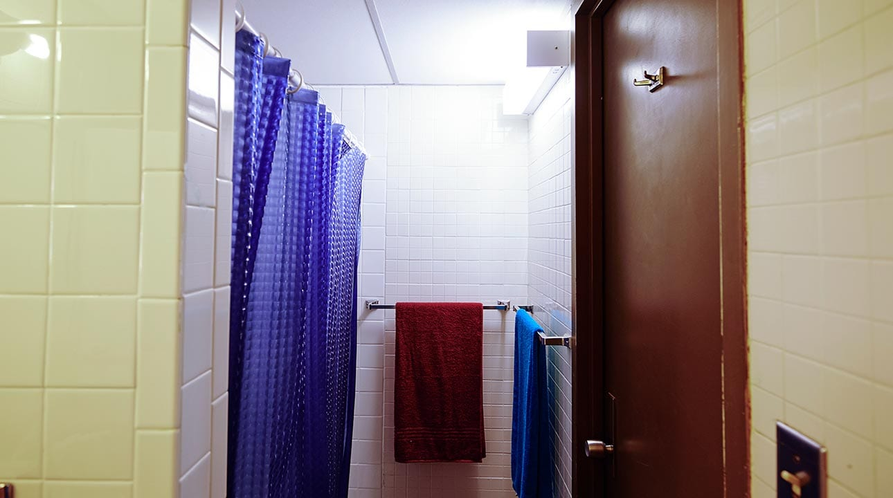 Shower area in a residence hall